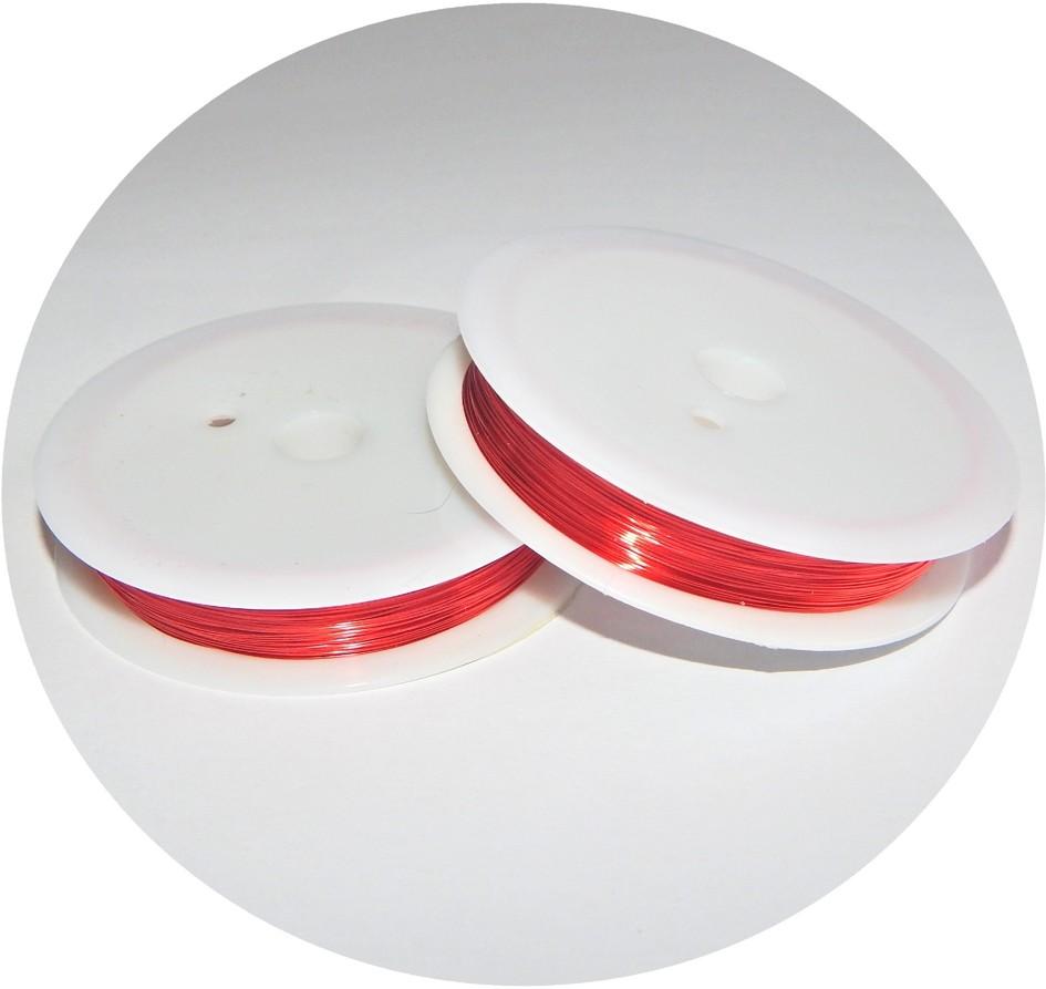 Měděný drát - červený, průměr 0,4mm, balení po 20 m