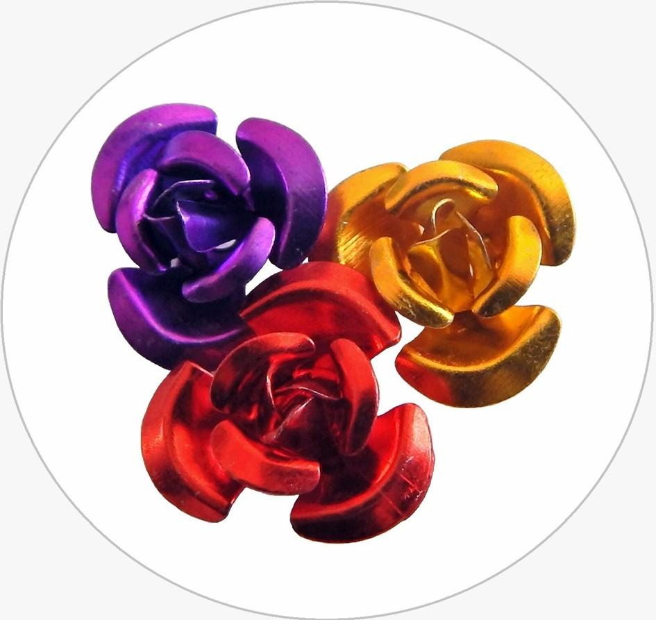Hliníkové korálky ve tvaru růže 12mm, mix barev, balení 50 ks