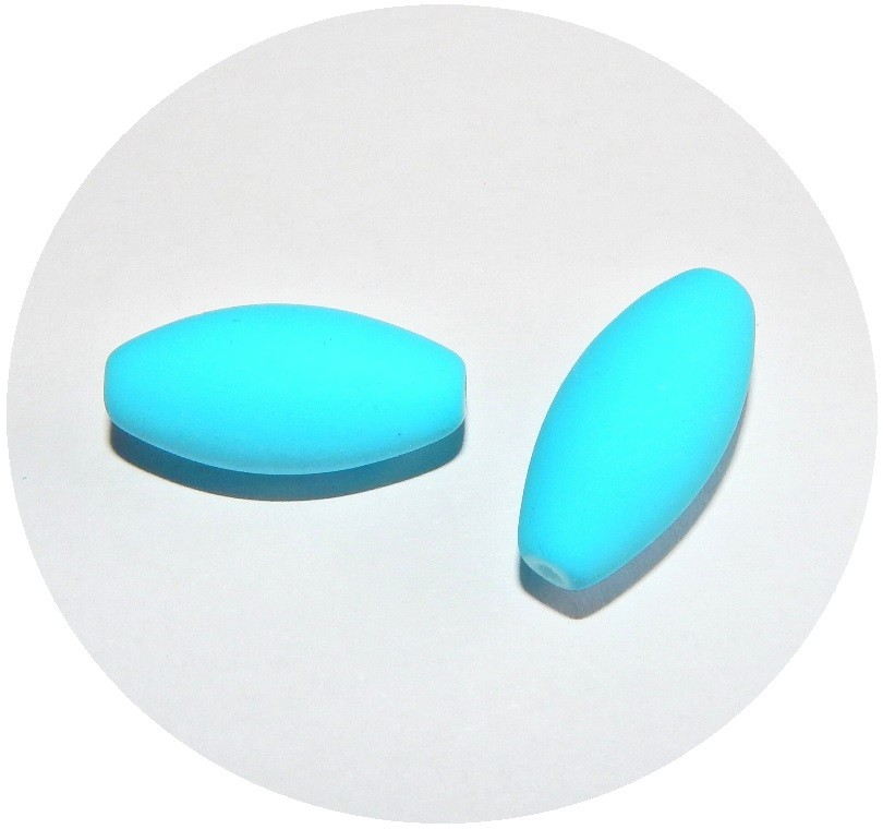 Glass Beads - neon oval, 21x10mm, light blue, packing 5 pcs