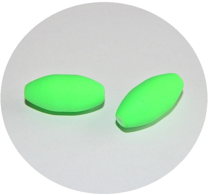 Glass Beads - neon oval, 21x10mm, green, packing 5 pcs