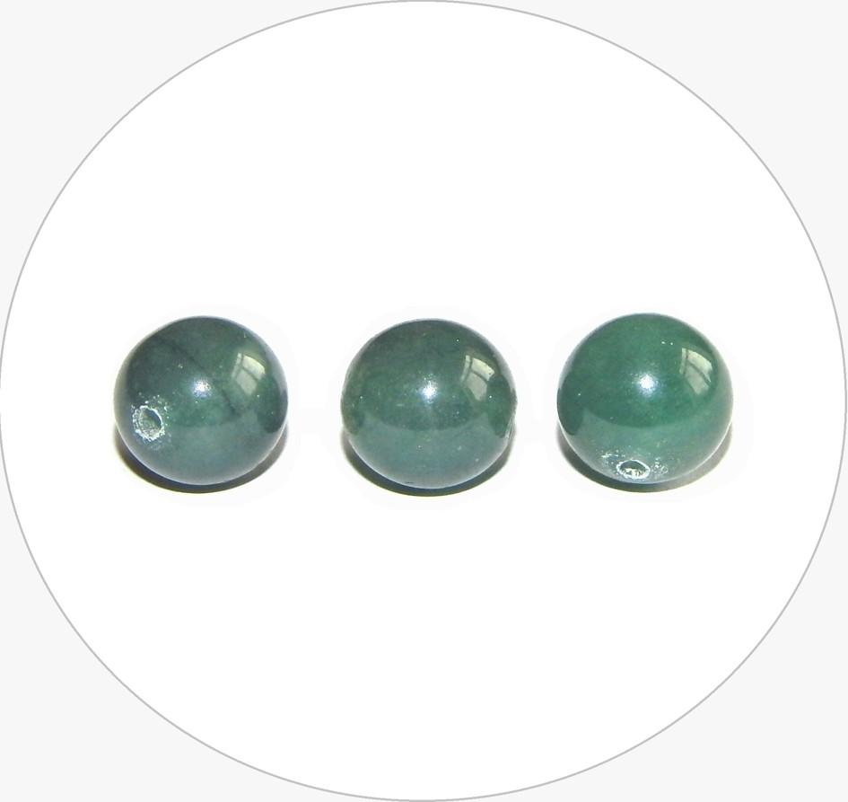 Achátová kulička - zelená, 10mm, balení po 5 ks