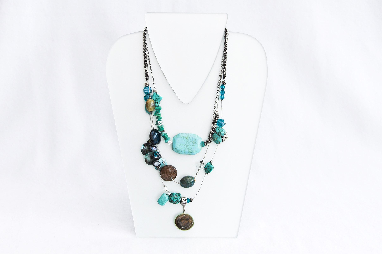 Rich multirow necklace turquise. Design Providence Rhode Island USA