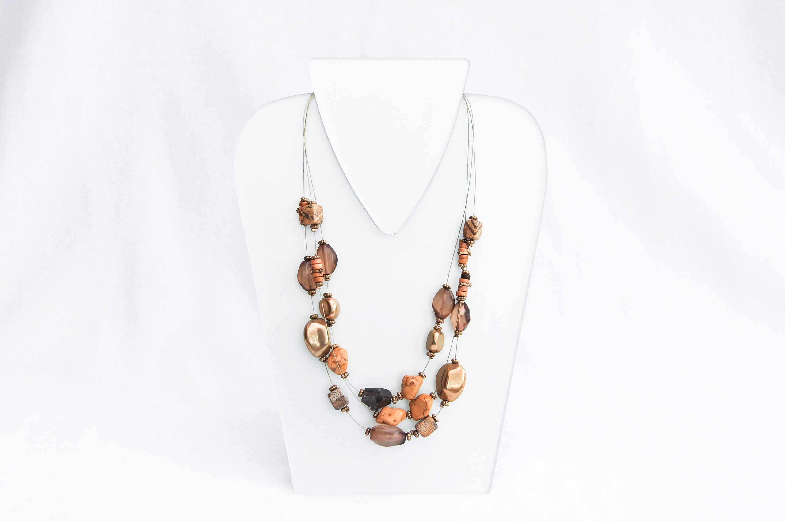 Threerow necklace with pearls and natural stones. Design Providence Rhode Island USA