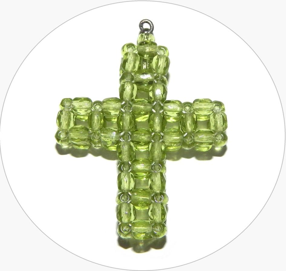 Šitý křížek - ručně šitý zelený křížek z broušených korálků, 35x27mm, balení po 1 ks