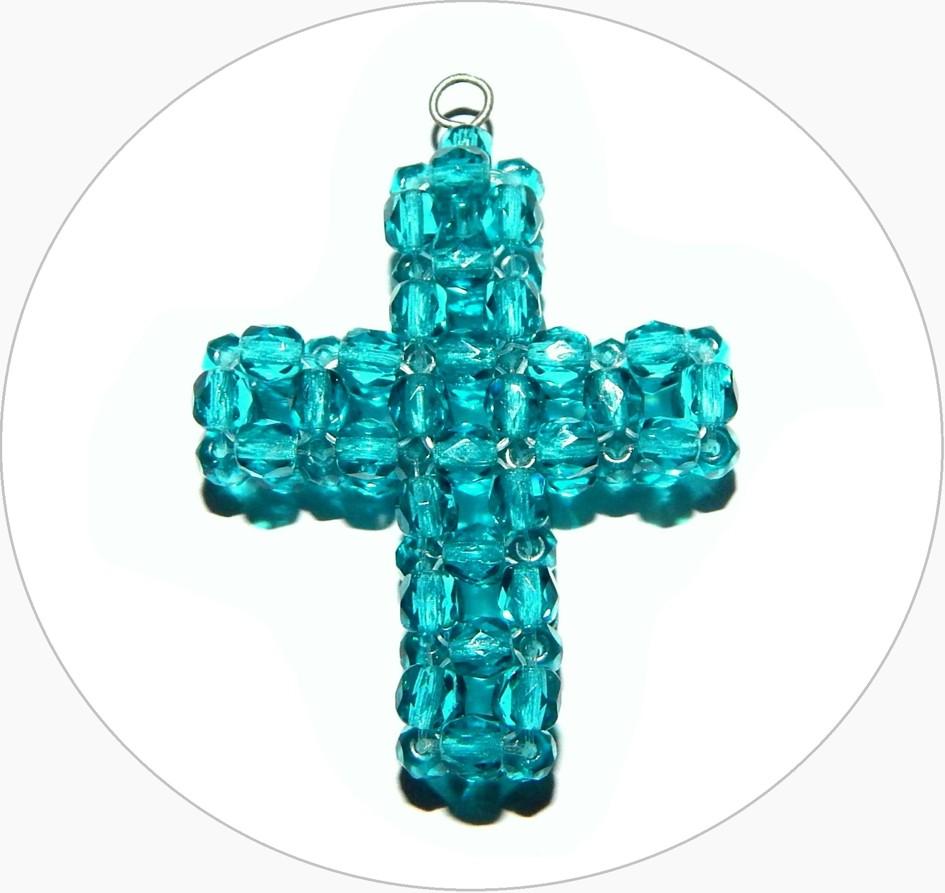 Šitý křížek - ručně šitý modrý křížek z broušených korálků, 43x35mm, balení po 1 ks