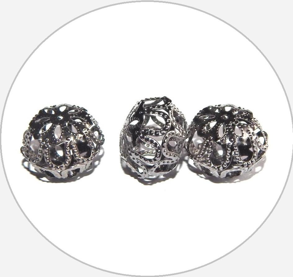 Kovové filigránové korálky - zploštělá kulička, hematit, 13x18mm, balení po 3 ks