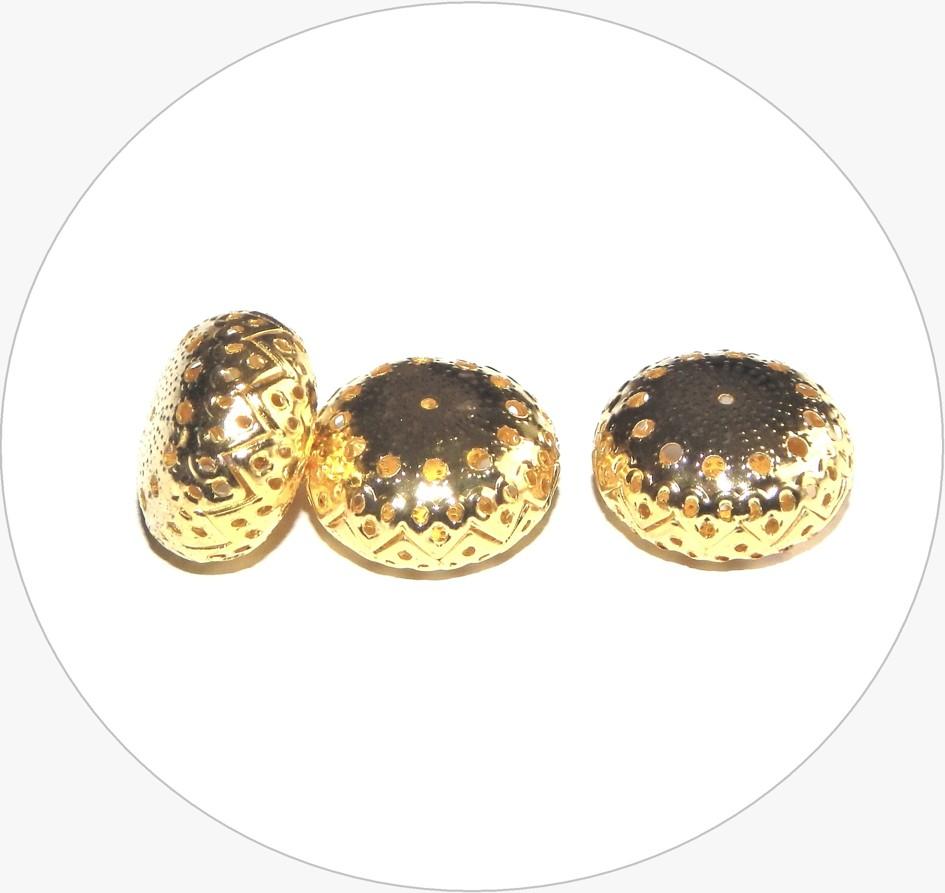 Kovové filigránové korálky - zploštělá kulička, zlatá, 13x22mm, balení po 2 ks