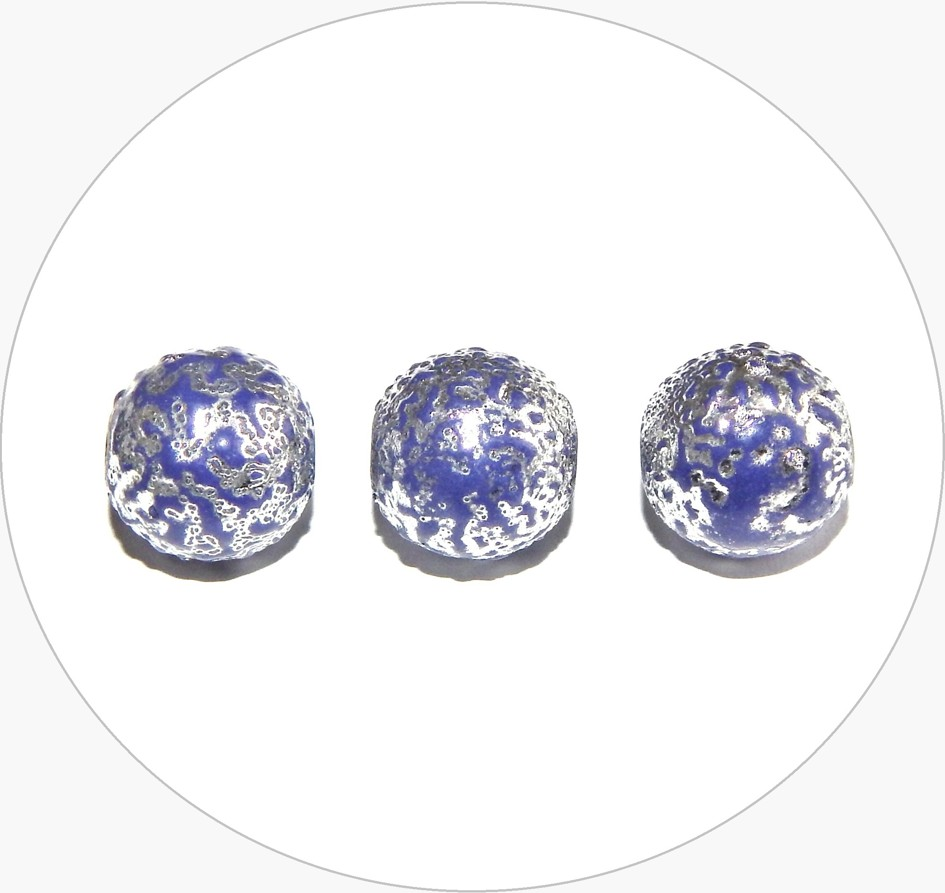 Acrylic beads - blue with silver, 12mm, packing 10 pcs
