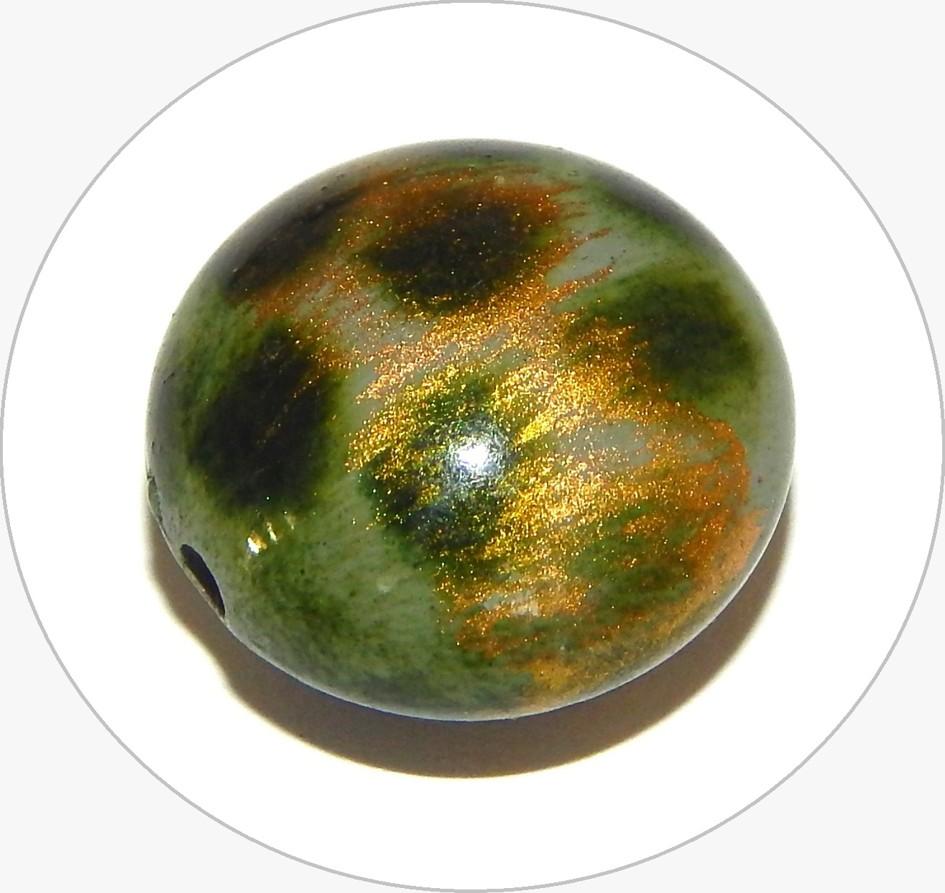 Akrylové korálky - zelený váleček, 17x10mm, balení po 5 ks