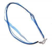 Cord, organza ribbon with clasp, blue, packing 1 pc