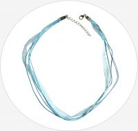 Cord, organza ribbon with clasp, light blue, packing 1 pc