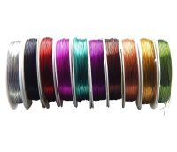 Brass wire 0,4mm, lenght 15m, mixed colours, packing 10 pcs