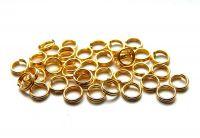 Dvojitý kroužek 6x0.7mm, pozlaceno, balení 15 g (cca 144 ks)