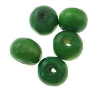 Dřevěné korálky 08mm,  zelené, balení 100 ks