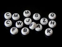 Acrylic Alphabet Beads, size 7x4mm, white, packing 20pcs