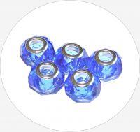 Velkodírové korálky průvlek 14x9mm, průměr 4mm,modrá, balení 1 ks