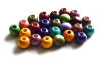 Dřevěné korálky 06mm, mix barev, balení cca 100 ks