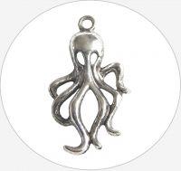 Kovový přívěsek chobotnice, vel.17x31x5mm, barva B-starosříbro, balení 1 ks