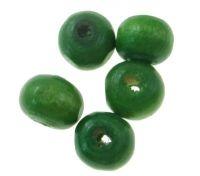 Dřevěné korálky 12mm, zelené, balení 50 ks