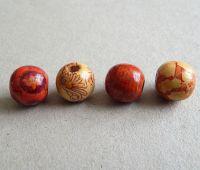 Dřevěné korálky s potiskem, vel.16x15mm, mix vzorů, balení 5ks