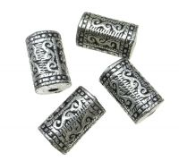 Acrylic beads, tube 17x10mm, hole 2mm, antique silver, packing 10 pcs