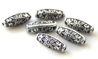 Acrylic beads, oval 7x18mm, hole approx 1,5mmm, antique silver, packing 10 pcs