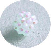 Plastic Rhinestone Bead 10x12mm, white, packing 1 pc