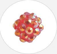 Šatonová kulička plast 10x12mm,červeno-zlatá, balení 1ks