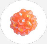Šatonová kulička plast 10x12mm, oranžová-zlatá, balení 1 ks