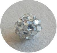 Šatonová kulička plast 10x12mm, krystal, balení 1 ks