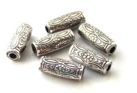 Acrylic beads, tube 21x8mm, antique silver, packing 4 pcs