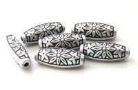 Acrylic beads, oval 40x12x5mm, antique silver, packing 4 pcs