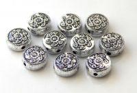 Akrylové korálky, zploštělá kulička 10x4mm, starostříbro, balení 10 ks