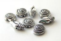 Acrylic beads, sea shells 10x4 and 7x14x4mm, antique silver, packing 20 pcs