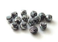 Acrylic beads, oval 5x6mm, antique silver, packing 40 pcs