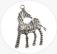 Kovový přívěsek zebra, vel.28x41x2mm, barva B-starostříbro, balení 1 ks