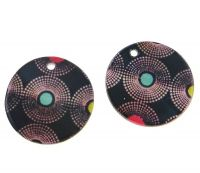 Pendant printed pearl 40mm, retro, packing 1 pc