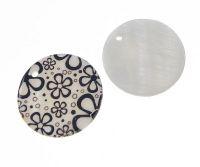 Přívěsek perleť potištěná 30mm, černobílé květy, balení 1 ks