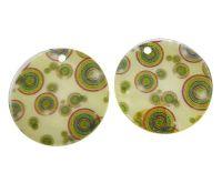 Přívěsek perleť potištěná 40mm, barevné kruhy, balení 1 ks