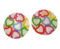 Přívěsek perleť potištěná 30mm, srdce, balení 1 ks