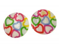 Pendant printed pearl 40mm, hearts, packing 1 pc