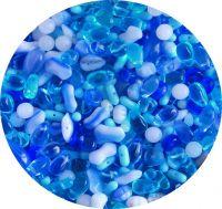 Mačkané korálky, mix modrý, mix tvarů a velikostí, balení po 50g