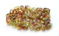 2-hole beads BI-BEADS 3x5,5mm, green/brown, packing 10 g