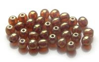 Pressed white opal round bead with red terracota 04mm, packing 60 pcs