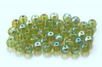 Mačkaná skleněná kulička 04mm, olivín AB, balení 60 ks