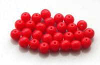 Pressed glass round beads 06mm, opaque red, packing 30 pcs
