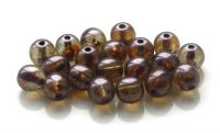 Pressed crystal round bead with green-brown luster 06mm, packing 30 pcs