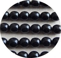 Pressed glass round beads - jet 06mm, packing 30pcs
