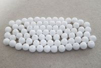 Pressed glass round beads 08mm, opaque white, packing 20 pcs