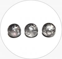 Pressed glass round beads - grey with silver splash, 12mm, packing 10 pcs